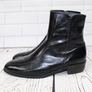 Florsheim Black Leather Zip Ankle Boots Size 10